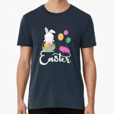 """happy easter"" by Chris olivier Wash Bags, Tshirt Colors, Happy Easter, Chiffon Tops, Looks Great, Tees, Cotton, Mens Tops, T Shirt"