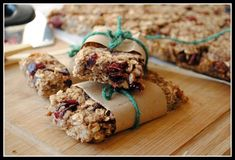 Healthy granola bars, NO SUGAR. I made these.  Used almonds instead of pecans.  Not bad, they need a little more flavor.  Maybe mini dark chocolate chips...
