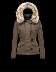 Womens Moncler AYROLLE Turtleneck Detachable Military green Womens Jackets  Cotton Racoon 6a9176f0d37