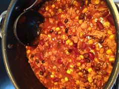 Taco soup (or turkey taco chili)-: 1 can black beans, 1 can kidney beans, 1 can corn kernels, 16 oz tomato sauce, 28 oz diced tomatoes (I like fire-roasted), packet taco seasoning, 1 tbsp chili powder, 1 package thawed ground turkey (I don't even brown it first..just toss everything in slow cooker) Cook in crock-pot 4 hours high or 8 hours low
