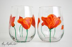 Orange Poppies Stemless Wine Glasses - Hand Painted Wine Glasses for Mom - Mothers Day Gift - Set of 2 (35.00 USD) by MaryElizabethArts