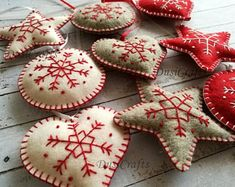 Set of 9 Christmas ornaments, Felt Red White Grey Christmas decorations, Embroidered ornaments, Safe ornaments, Grey Heart traditional decor