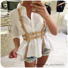 Leather Detail with white shirt Leather Accessories, Fashion Accessories, Leather Harness, Fashion Line, Casual Street Style, Fashion Outfits, Womens Fashion, Lingerie Models, Cute Outfits