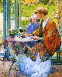 19th-century American Women: Off to Paris - American Richard Miller (1875–1943) Painting for the Home Crowd