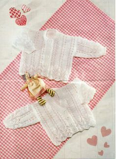 """baby / childs lacy cardigans knitting pattern PDF DK baby girls jackets v neck round neck 16-26"""" DK light worsted 8ply pdf instant download by Minihobo on Etsy"""