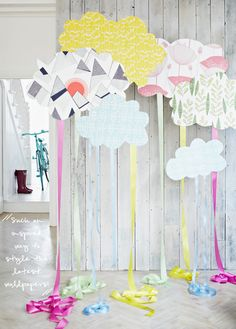 Cute backdrop idea. This would be super cute for little kids. And we could make it ourselves for cheap really. Just the cloud area...unless we want the bike lol