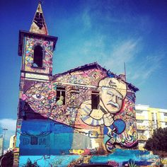 Awesome painted old church in Olhᾶo # Portugal