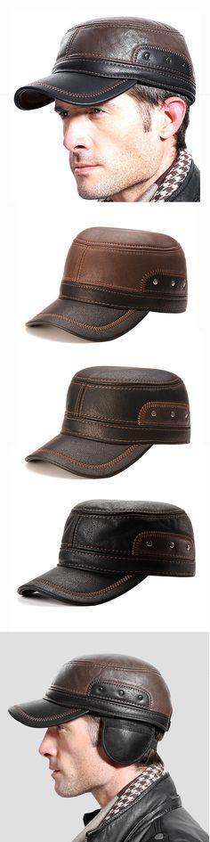 Big Big Shot 1PCS New Mens Genuine Leather Baseball Caps Winter Hats with Ear Flaps Cap Hat