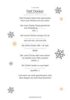 """Gedicht Kinder Schnee """"Fünf Flocken"""" kita-kiste"""