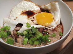 """Pinterest's Henri Loh swears by savory """"oatmeal"""" for her family. """"I drop an egg while I'm cooking the oatmeal so it poaches and add soy sauce and sprinkle dulse seaweed on top too."""" Her son likes digging and finding the egg. How cute!"""