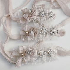 Tieback with rosette and rhinestones, fits newborn-sitterPlease allow up to 10 days for this item to ship as it is made to order Handmade Headbands, Diy Headband, Lace Headbands, Newborn Headbands, Ribbon Hair, Hair Bows, Felt Flowers, Fabric Flowers, Baby Hair Bands