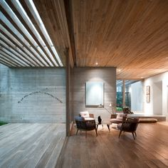wood and concrete in the living room