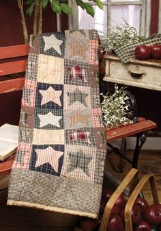HOMESPUN STAR QUILT ..throw for sofa