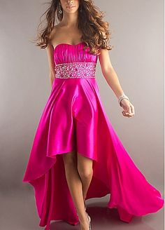 Glamorous Charmeuse Empire Strapless Hot Pink Prom Dress With Beading and Rhinestone