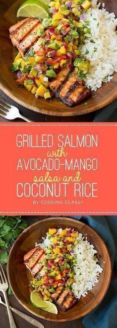 Grilled Salmon with Avocado-Mango Salsa and Coconut Rice | 7 Tasty Summer Dinners To Try This Week #salmongrill