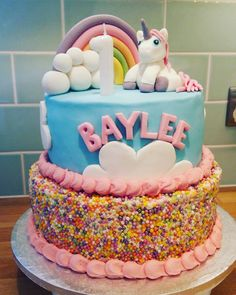 Made a unicorn cake for my beautiful niece's first birthday #cake #unicorn #rainbow #birthday #niece
