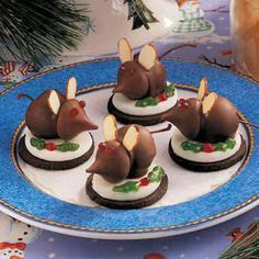 Holiday Chocolate Mouse Cookies:  1/2 Oreo cookie  chocolate covered cherries (body)  hersey kisses (head)  almond slices for ears  jelly candy or gel icing for leaves and berries
