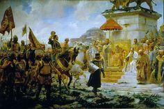 """José Moreno Carbonero: """"Entrada de Roger de Flor en Constantinopla"""", 1888, oil on canvas, Height: 350 cm (137.8 in). Width: 550 cm (216.5 in), Palacio del Senado de España, Madrid, (Spain)."""