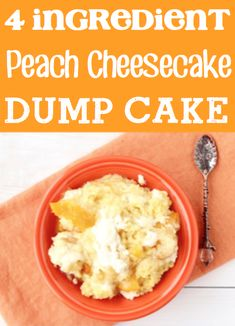 Peach Cobbler Recipe with Canned Peaches! Cheesecake dump cake mix desserts with cream cheese are easy! Cake Mix Desserts, Cheesecake Desserts, Fun Desserts, Delicious Desserts, Autumn Desserts, Spring Desserts, Easter Desserts, Spring Recipes, Christmas Desserts