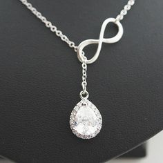 LUX Cubic Zirconia Halo Style Pendant with infinity charm Bridal Necklace Bridesmaid Necklace - Earrings Nation