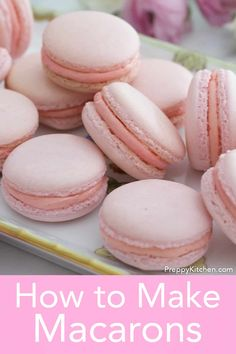 From Preppy Kitchen these French macarons make a very special treat to give your friends and family. They're bite-sized Heaven! I've included ALL the tips and tricks I can think of to help you make these cookies picture perfect and delicious! Easy Gluten Free Desserts, Easy Desserts, Pavlova, Baking Recipes, Cookie Recipes, Tea Recipes, Easy French Macaron Recipe, Cheesecake Oreo, Mousse