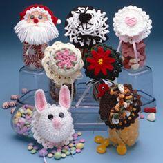 Leisure Arts - More Holiday Jar Lid Covers Crochet Patterns ePattern, $2.99 (http://www.leisurearts.com/products/more-holiday-jar-lid-covers-crochet-patterns-digital-download.html)
