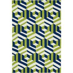 Kaleen Rugs Handmade Indoor/ Outdoor Getaway Navy Geometric Rug ($361) ❤ liked on Polyvore featuring home, rugs, green, indoor outdoor area rugs, non skid rugs, handmade rugs, outside rugs and green indoor outdoor rug