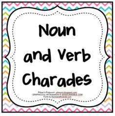 Pitner's Potpourri: Noun and Verb Charades - Freebie craft, Grammar Activities, Language Activities, Writing Activities, Literacy Strategies, Class Activities, Educational Activities, Writing Ideas, Teaching Nouns, Teaching Writing
