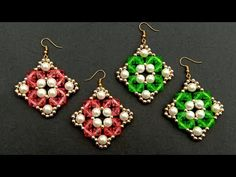 How To Make//Designer Earring//At Home// useful & easy Hi today i have shared in this video how to make beautiful and elegent pearl beaded designer earrings . Wire Jewelry Patterns, Beaded Earrings Patterns, Beading Patterns, Bead Crafts, Jewelry Crafts, Handmade Jewelry, Embroidery Jewelry, Beaded Embroidery, Easy Youtube