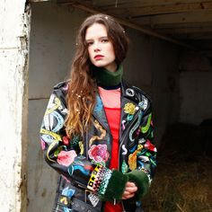 Dangerously obsessed with Phiney Pet's hand-painted leather jackets combined with fuzzy collars and shift dresses