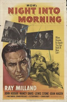 "Night Into Morning 1951 Authentic 27"" x 41"" Original Movie Poster Ray Milland Drama U.S. One Sheet"