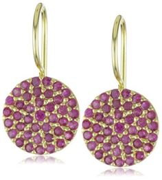 """Susan Hanover Designs """"Glistening Disks"""" Fuchsia Cubic Zirconia Gold Earrings Susan Hanover Designs. $137.50. Total weight of earrings is 5 grams. Round pave disk earrings with fuschia cubic zirconias. Made in Turkey. Gold-plated over sterling silver"""