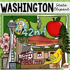 "Washington state clip art and line art includes 10 high quality color and black line clipart illustrations to show the evergreen state's flag, flower, tree, bird, and more. All images are 300 dpi for high quality printing.This state clip art set includes: Washington state shape, state flag, rhododendron, Western hemlock tree, red apple, goldfinch, sockeye salmon, Space Needle, Pike Place Market, and ""42nd"" for the 42nd state to join the union.(Be sure to check the preview for an index sheet…"