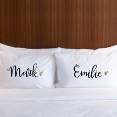 Sweet dreams are made of these handmade personalized pillowcases - perfect as a wedding gift for the bride or a gift for bridesmaids.