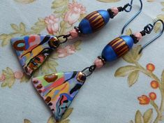 Turkish Delights, Funky Whimsical Ceramic Dangles, Abstract Contemporary Boho Earrings, Josephinebeads, gracefulwillowbeads, Northernblooms