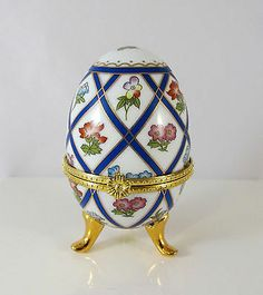 Porcelain Footed Egg Trinket Box Hand Painted My Treasure Hinged Flower Latch