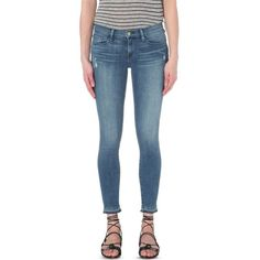 FRAME Le skinny de jeanne cropped skinny mid-rise jeans ($320) ❤ liked on Polyvore featuring jeans, sage grove, super skinny jeans, button-fly jeans, frame denim jeans, skinny fit jeans and faded blue skinny jeans