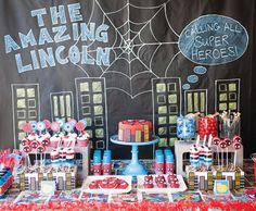 Spiderman dessert table with chalkboard backdrop
