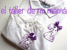 Polo y camiseta con número dos bordado a mano para niña en malva con flores