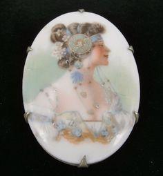 Antique Handpainted Porcelain Pin, Lovely Woman w/ Elaborate Headpiece Miniature Portraits, Headpiece, Antique Jewelry, Vintage Antiques, Porcelain, Hand Painted, Woman, Beautiful, Miniatures