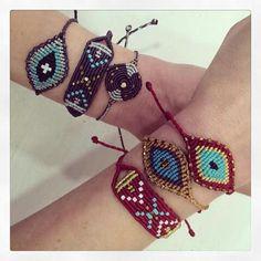 Macrame bracelets burgundy black