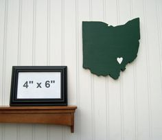 "Ohio University Bobcats ""State Heart"" wall art, handcrafted wood with official team colors"
