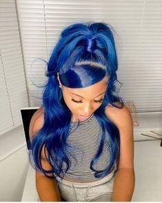 Baddie Hairstyles, Black Girls Hairstyles, Hair Ponytail Styles, Curly Hair Styles, Hair Colorful, Pretty Hair Color, Colored Wigs, Hair Laid, Lace Hair