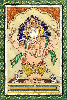 "hinducosmos: "" Lord Ganesha Orissa Paata Painting on Tussar Silk (via Dolls of India) "" Ganesha Drawing, Ganesha Painting, Pichwai Paintings, Indian Art Paintings, Kalamkari Painting, Madhubani Painting, Arte Ganesha, Lord Ganesha, Lord Shiva"