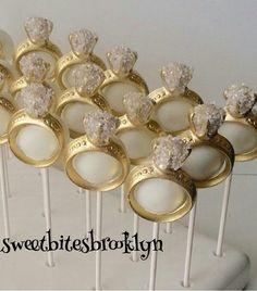Diamond ring Cake pops/engagement ring cake by SweetBitesBrooklyn