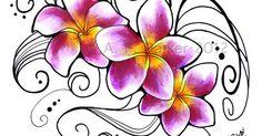 Plumeria 'J-105' Flower Tattoo Design - Magenta Pink Yellow Floral Original Artwork | Artworks, Flower and Flower tattoo designs