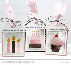 Handmade tags from Julie Dinn featuring Scallop Cross-Stitch Tag Die-namics #mftstamps