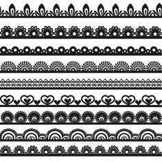 Buy Large Set of Openwork Lace Borders Black by azuzl on GraphicRiver. Large set of openwork lace borders black silhouette for your design Lace Drawing, Mandala Drawing, Pattern Drawing, Border Pattern, Lace Border, Border Design, Motif Design, Pattern Design, Henna Patterns