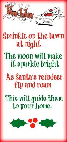 Printable reindeer food poem- just oats and glitter Magic reindeer food is such a fun and easy Christmas tradition to start with your family. You can print off a free poem to go with your reindeer food. Reindeer Food Poem, Magic Reindeer Food, Santa And Reindeer, Reindeer Dust, Reindeer Games, Christmas Activities, Christmas Printables, Christmas Traditions, Noel Christmas