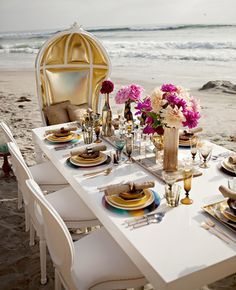 Luxurious table set up al fresco - using unique elements with no detail too small.